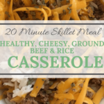 bowl with melted cheddar over steaming beef and rice casserole